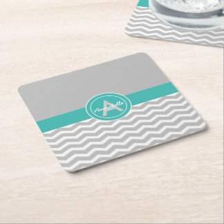Gray Teal Chevron Square Paper Coaster
