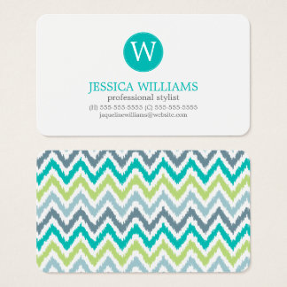 Gray Teal Green Zigzag Ikat Pattern Business Card