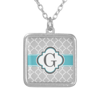 Gray Teal Monogram Letter G Quatrefoil Silver Plated Necklace