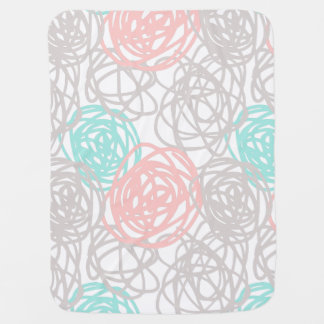 Gray Teal Pink Doodle Pattern Baby Blankets