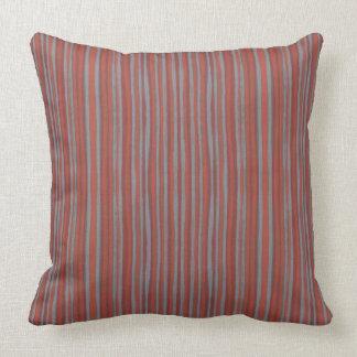 Gray & terracotta stripes, pattern narrow stripe throw pillow