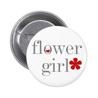 Gray Text Flower Girl Pin