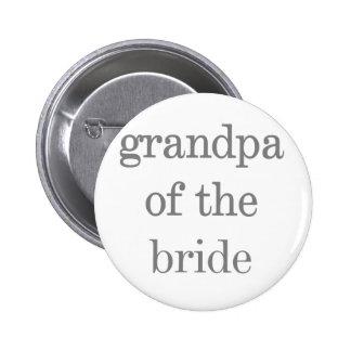 Gray Text Grandpa of Bride 2 Inch Round Button