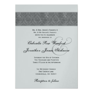 """Gray Textured Damask and Silver Metallic 6.5"""" X 8.75"""" Invitation Card"""