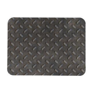 Gray Textured Industrial Metal Rectangular Photo Magnet