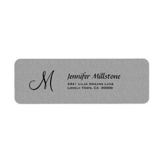 GRAY Textured Wedding Monogram Address Label
