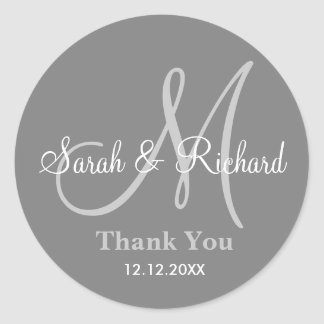 Gray Thank You Wedding Monogram Sticker