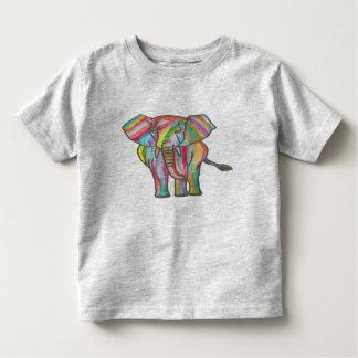 Gray Toddler T-shirt- Rainbow Elephant Design Toddler T-shirt