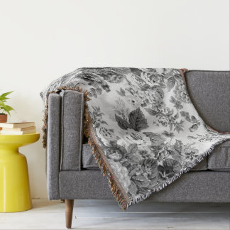 Gray Tone Black & White Vintage Floral Toile Throw Blanket
