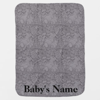 Gray Tones Baby Blanket Bunny Rabbits Personalized
