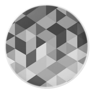 Gray Tones Geometric Shapes Ceramic Knob