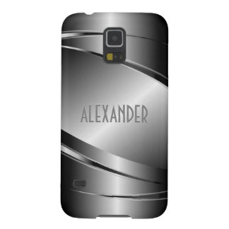 Gray Tones Stainless Steel Metallic Look-Monogram Case For Galaxy S5