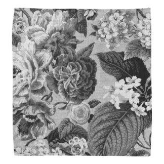 Gray Tones Vintage Floral Toile Fabric No.1 Kerchiefs