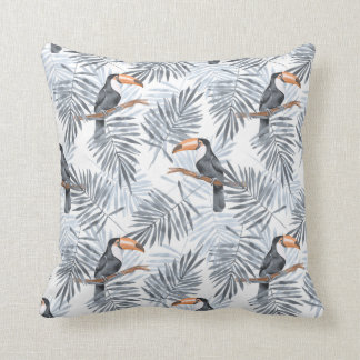Gray Toucan Throw Pillow