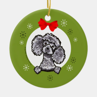 Gray Toy Poodle Christmas Classic Ceramic Ornament