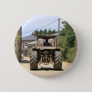 Gray Tractor on El Camino, Spain 2 Inch Round Button