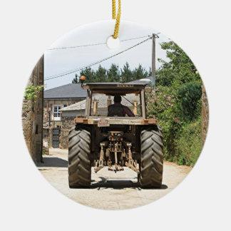 Gray Tractor on El Camino, Spain Ceramic Ornament
