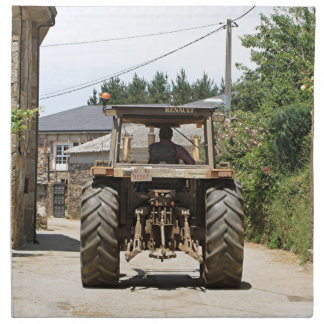 Gray Tractor on El Camino, Spain Napkin