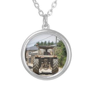 Gray Tractor on El Camino, Spain Silver Plated Necklace