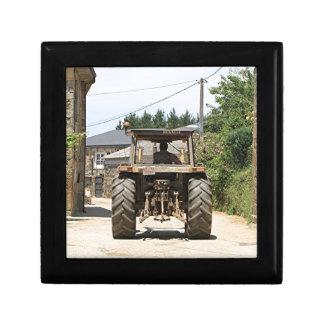 Gray Tractor on El Camino, Spain Trinket Box