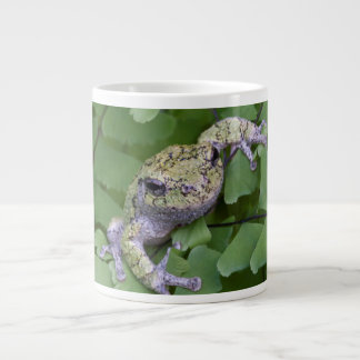 Gray tree frog on fern, Canada Large Coffee Mug