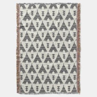 Gray Tribal Teepees Throw Blanket