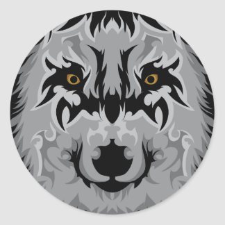 Gray Tribal Wolf Head Classic Round Sticker