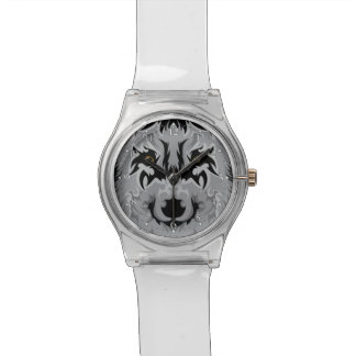 Gray Tribal Wolf Head Watch
