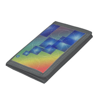 Gray TriFold Nylon Wallet Art Shapes motive