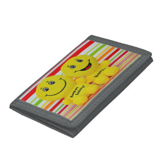 Gray TriFold Nylon Wallet - Be happy, keep smile