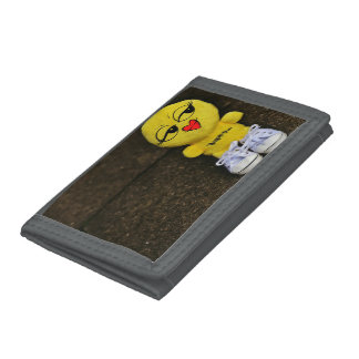 Gray TriFold Nylon Wallet with cartoon