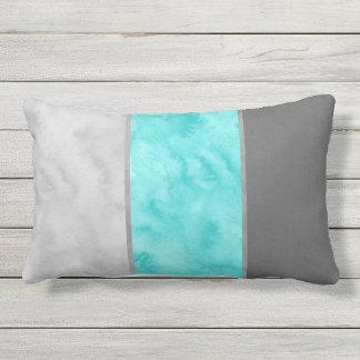 Gray Turquoise Block Stripes Lumbar Pillow