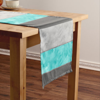 Gray Turquoise Block Stripes Short Table Runner