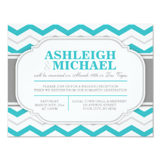 "Gray & Turquoise Chevron Wedding Reception ONLY 4.25"" X 5.5"" Invitation Card"