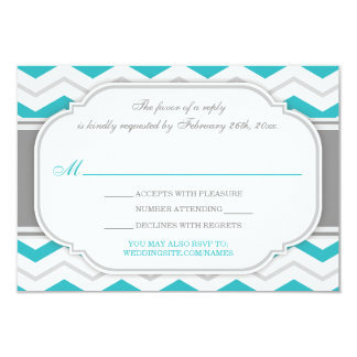 "Gray Turquoise Chevron Wedding Reception RSVP Card 3.5"" X 5"" Invitation Card"