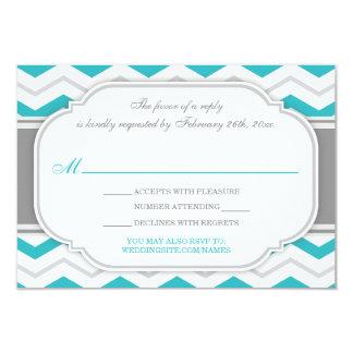 "Gray Turquoise Chevron Wedding Reception RSVP Card 3.5"" X 5"" Invitation Card"