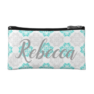Gray Turquoise Modern Kaleidoscope Damask Pattern Makeup Bag