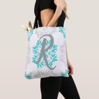 Gray Turquoise Modern Kaleidoscope Damask Pattern Tote Bag