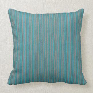 Gray & turquoise stripes, pattern, narrow stripe throw pillow