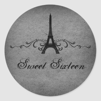 Gray Vintage French Flourish Sweet 16 Stickers
