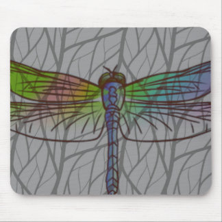 Gray Watercolor Dragonfly Mouse Pad