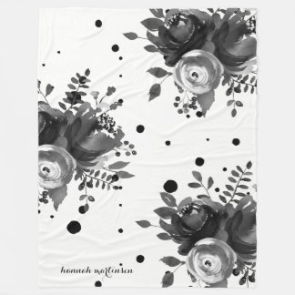 Gray Watercolor Floral with Dots and Add Name Fleece Blanket