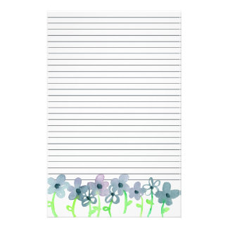 Gray Watercolor Flowers Lined Stationery