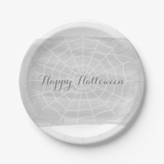 Gray Watercolor Spider Web Halloween 7 Inch Paper Plate