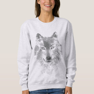 Gray Watercolor Wolf Sweatshirt
