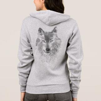 Gray Watercolor Wolf Zip Hoodie