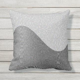 Gray Wave Contours Throw Pillow