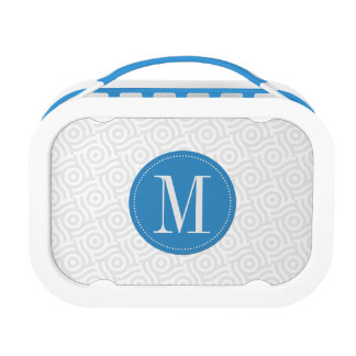 Gray Wave/Dot Background with Blue Monogram Lunchboxes