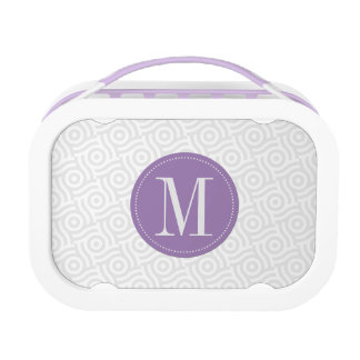 Gray Wave/Dot Background with Purple Monogram Lunchboxes