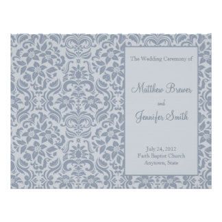 Gray Wedding Order of Service & Ceremony Program Flyer
